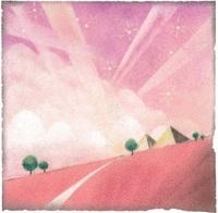 楽しい空(パステルアート、15×15センチ)
